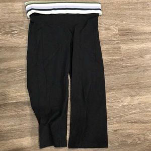 Black capris with colorful fold over
